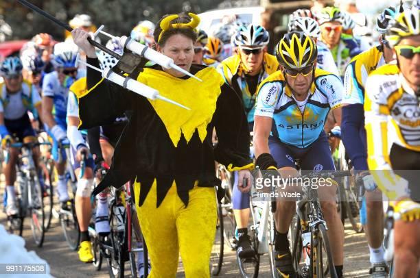 Tour Of California, Stage 4Lance Armstrong , Livestrong Fan Supporter, Doping, Illustration Illustratie, Merced - Clovis , Ronde, Rit Etape, Tim De...