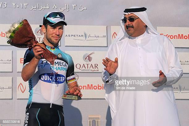 Tour of Qatar 2013 / Stage 4 Podium / Mark CAVENDISH Celebration Joie Vreugde / Sheikh Khalid Bin Ali Al Thani President Qatar Cyclign Federation /...