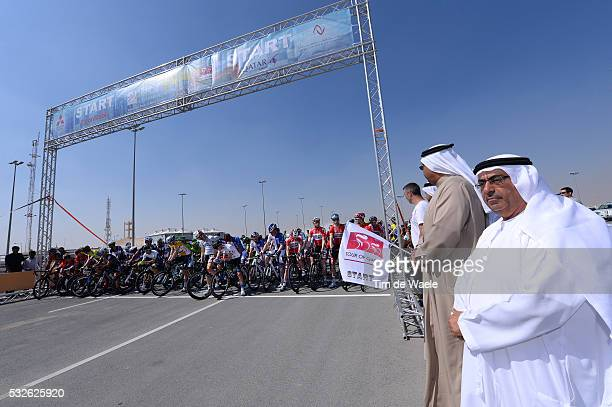 Tour of Qatar 2014 / Stage 2 Illustration Illustratie / Start Departure Vertrek / Sheikh Khalid Bin Ali Al Thani President of Qatar Cycling...