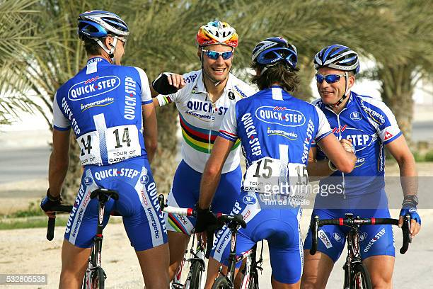 Tour Qatar 2006. Stage 1. Khalifa Stadium - Al Khor Corniche . Tom Boonen is congratulated by Quick-Step Innergetic team mates Kevin Hulsmans ,...