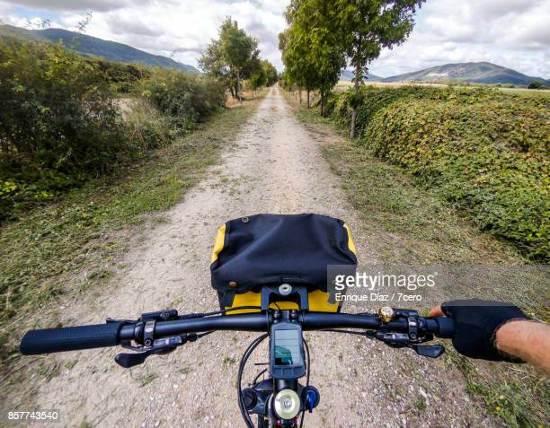 cycling trail in the basque country - handlebar stock photos and pictures