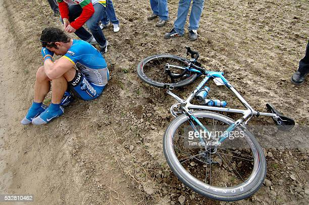 Pro Tour, 104th Paris - Roubaix. George Hincapie recovers from a crash during the race.