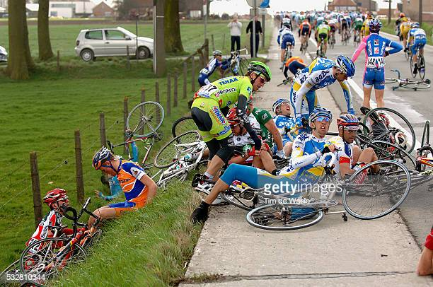 UCI Pro Tour Tour of Flanders Brugge Meerbeke 258 Km Laurent Mangel and Stéphane Auge are involved in a crash during the race