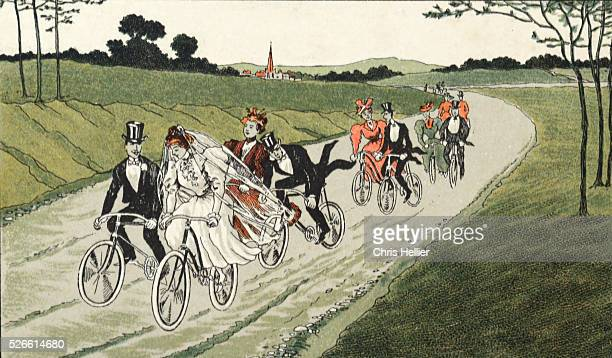 Cycling Wedding Party on Bicycles c1910