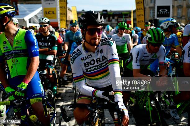 Cycling world champion Peter Sagan of Slovakia waits for the start of the 116th edition of the ParisRoubaix oneday classic cycling race between...