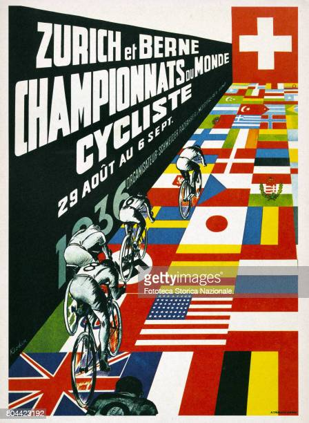 Cycling World Championships on track and road, poster by Kocker. Zurich and Berne, 29 August to 6 September 1936.