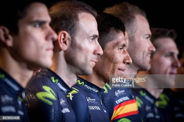 Cyclist Alejandro Valverde and Nairo Quintana attend the Cycling Movistar Team Presentation at Telefonica headquarters in Madrid on January 25, 2017...