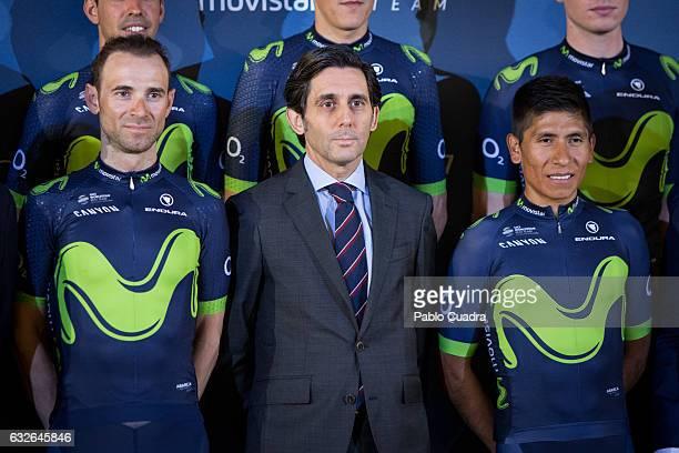Cyclist Alejandro Valverde, Jose Maria Alvarez-Pallete and cyclist Nairo Quintana attend the Cycling Movistar Team Presentation at Telefonica...