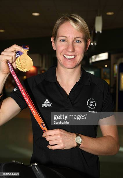 Cyclist Alison Shanks of New Zealand arrives at Auckland International Airport on October 16 2010 in Auckland New Zealand Alison won gold in the...