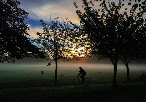 A Cyclist At Dawn Seen With Mist And Fleeing Bird In Background