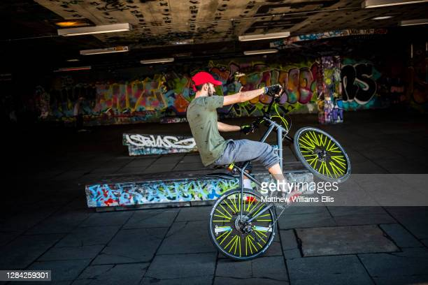 Cyclist at Southbank Centre Skate Park, London, England.