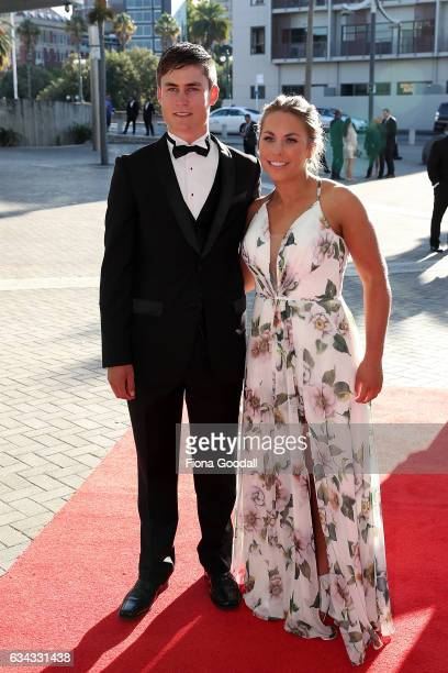Cyclist Campbell Stewart and partner arrive at the 54th Halberg Awards at Vector Arena on February 9 2017 in Auckland New Zealand