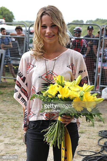 Cyclist champion Marion Rousse poses during stage nine of the 2015 Tour de France a 28 km team time trial from Vannes to Plumelec on July 12 2015 in...