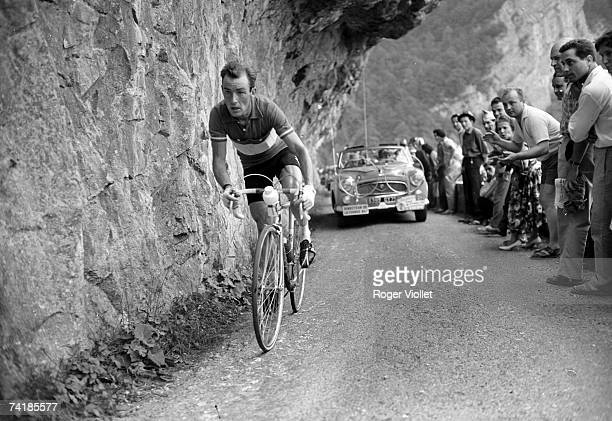 Cyclist Charly Gaul from Luxembourg racing in the 1955 Tour de France