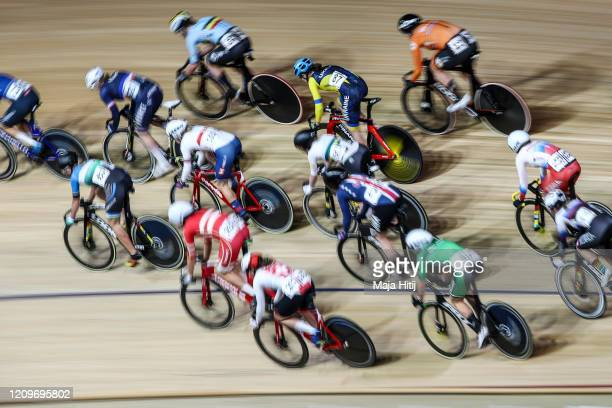 Cyclist compete during Men's Madison race during day 5 of the UCI Track Cycling World Championships Berlin at Velodrom on March 01, 2020 in Berlin,...