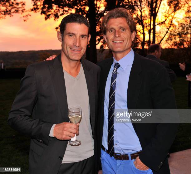 Cyclist George Hincapie and Anthony Kennedy Shriver Founder and Chairman of Best Buddies International attend a reception hosted by Ted and Lynn...