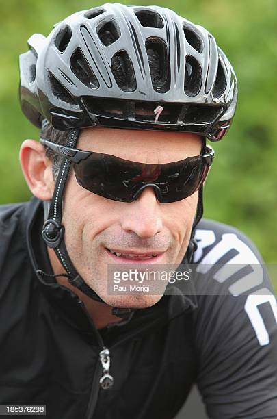 Cyclist George Hincapie attends the start of the 2013 Audi Best Buddies Challenge Washington DC at Poolesville Golf Course on October 19 2013 in...