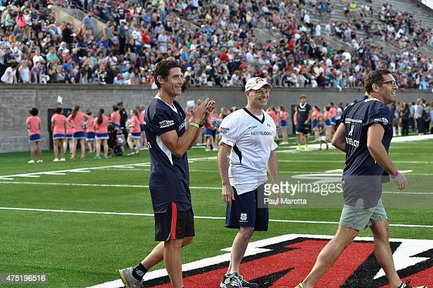 Cyclist George Hincapie attends the Tom Brady Football Challenge for The Best Buddies Challenge Hyannis Port 2015 at Harvard Field on May 29 2015 in...
