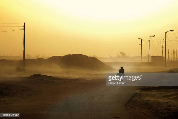Cyclist in sandstorm