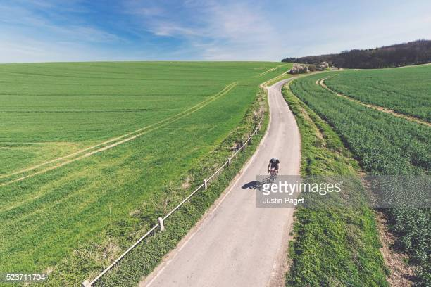Cyclist in UK Countryside