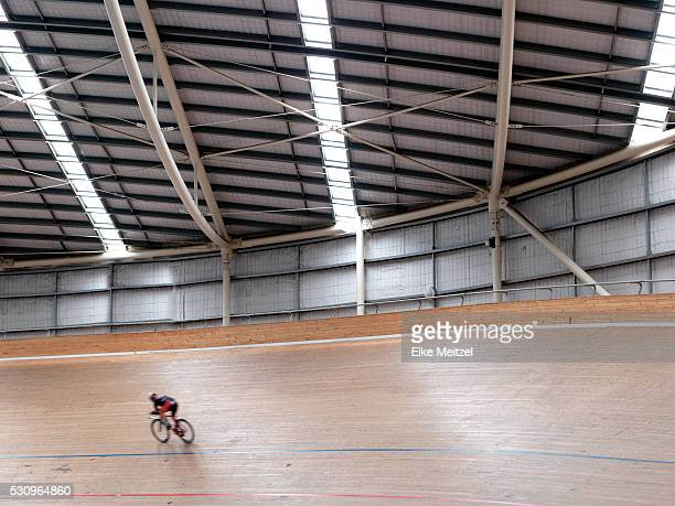 cyclist in velodrome