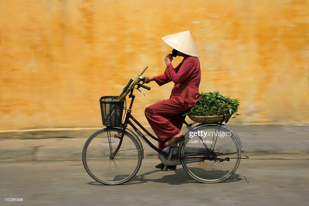 Cyclist in Vietnam : Stock Photo