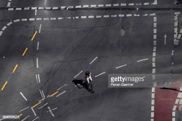 A cyclist is pictured on crossroads on May 09 2018 in Berlin Germany