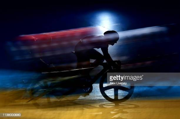 A cyclist is seen in action during the Men's Keirin race during day three of the Phynova Manchester Six Day Cycling at National Cycling Centre on...