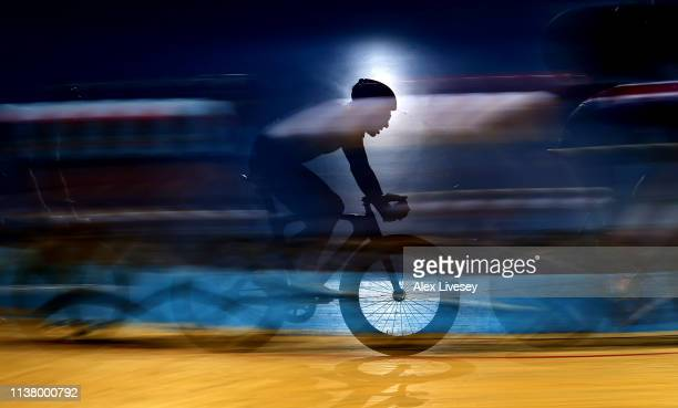 A cyclist is seen in action during the Team Elimination race during day three of the Phynova Manchester Six Day Cycling at National Cycling Centre on...