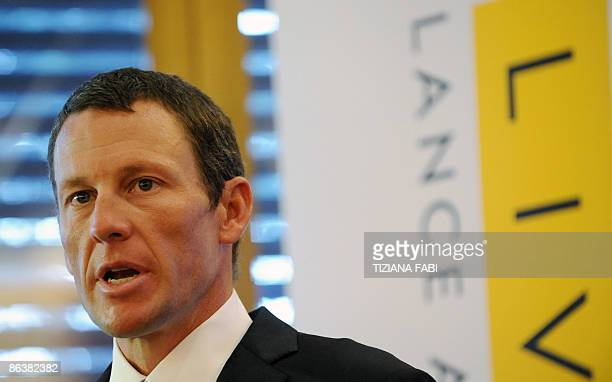 US cyclist Lance Armstrong gives a press conference to present the Livestrong campaign of his foundation on May 5 2009 at the Gemelli hospital in...