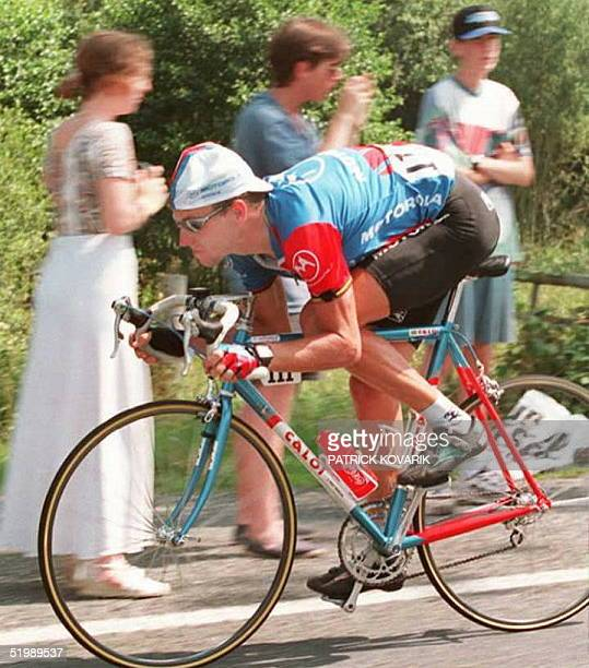 US cyclist Lance Armstrong rides to victory in the 18th stage of the Tour de France 21 July between Bordeaux and Limoges Armstrong dedicated his...