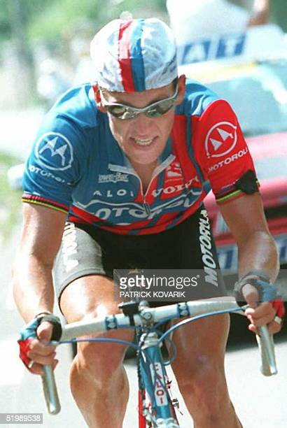 US cyclist Lance Armstrong rides to victory in the 18th stage of the Tour de France 21 July in Limoges Armstrong dedicated his victory to late...