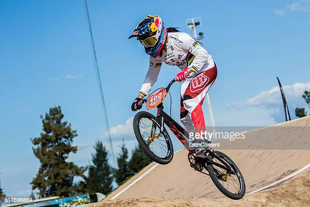 BMX cyclist Mariana Pajon of Colombia competes in Time trial during the UCI BMX Super Cross World Cup on March 25 2016 in Santiago del Estero...
