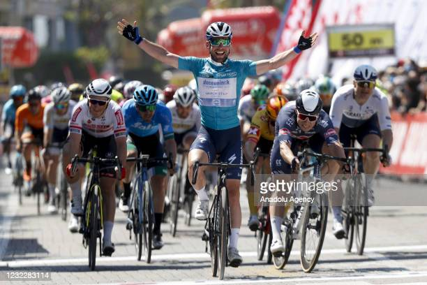 Cyclist Mark Cavendish wins the Beysehir-Alanya stage of the 56th Presidential Cycling Tour of Turkey in Antalya, Turkey on April 13, 2021.