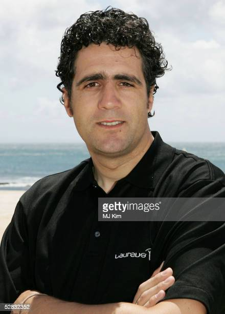 Cyclist Miguel Indurain poses during the Laureus Beach Festival May 16 2005 at Tamariz Beach Estoril Portugal