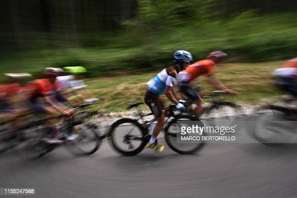 Cyclist of France's AG2R La Mondiale cycling team rides amongst cyclists during the seventh stage of the 106th edition of the Tour de France cycling...