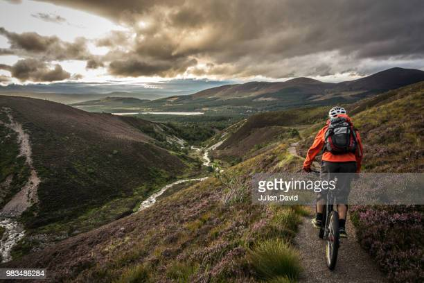 A cyclist on Allt Mor in Scotland.