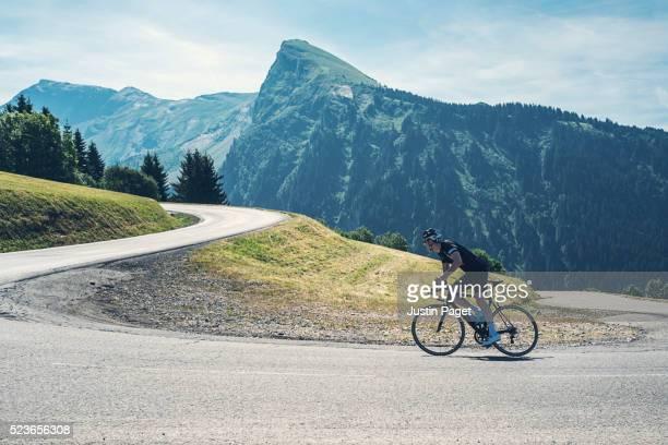 Cyclist on Alpine Switchback