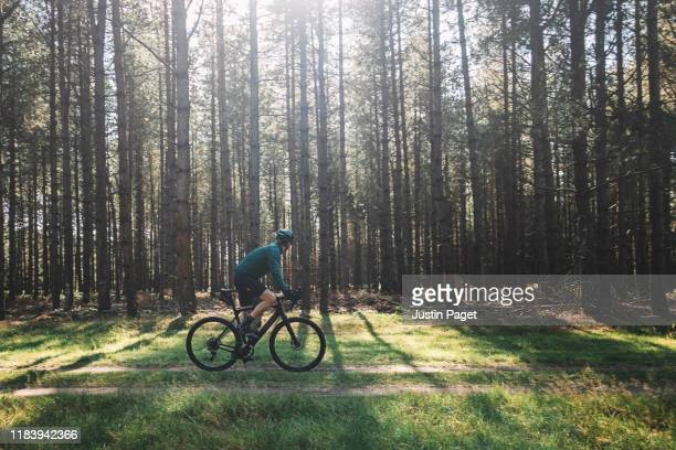 cyclist on forest path - riding stock pictures, royalty-free photos & images