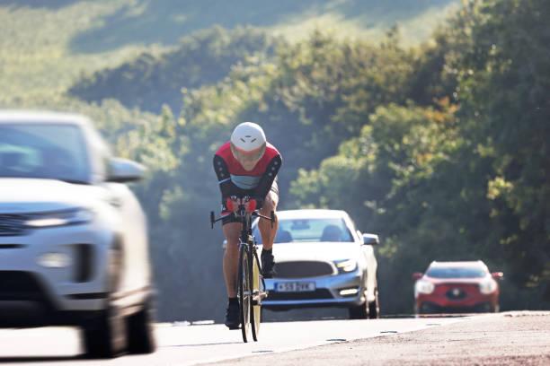 cyclist on major road