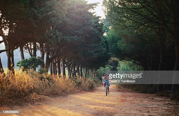 Cyclist on sandy track, evening, Ile de Porquerolles, Var.