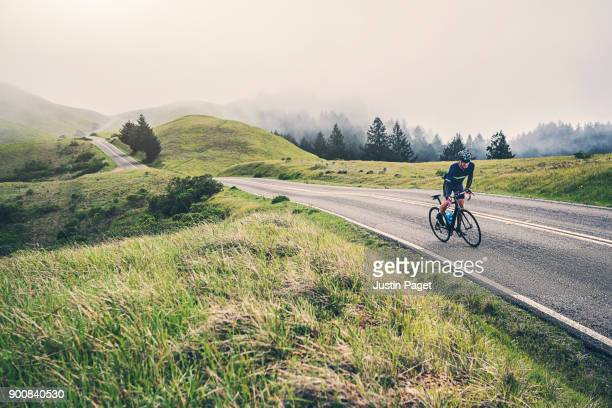 cyclist on the seven sisters, marin county - fairfax california stock pictures, royalty-free photos & images