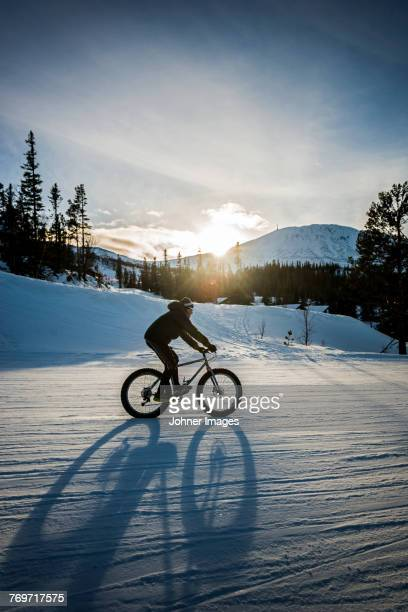 cyclist on the winter road