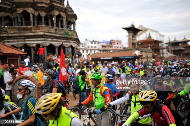 Cyclist participated in 100Km ride from starting point in Kathmandu Kora Cycling 2018 RIDE for a CAUSE at Patan Durbar Square Patan Nepal on Saturday...