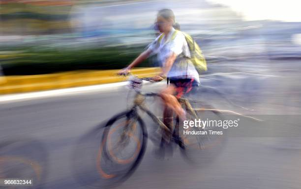 A cyclist participates in a cycle rally on the occasion of World Bicycle Day 2018 after Vice President Venkaiah Naidu unveiled the Smart Bike during...