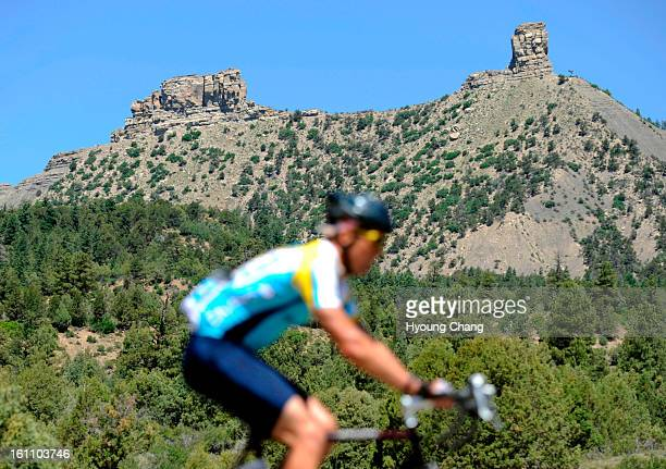 A cyclist pass by Chimney Rock on Thursday 2000 cyclists travel 87 miles from Durango to Pagosa Springs Hyoung Chang/ The Denver Post