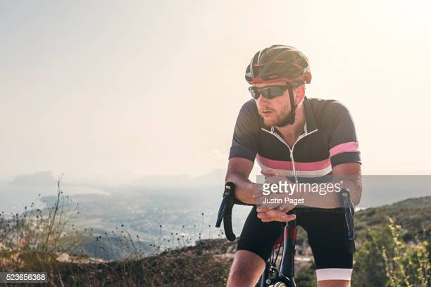 Cyclist Resting on Cumbre Del Sol, Benitachell, Spain
