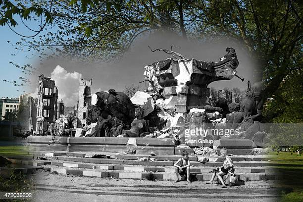 In this digital composite image a comparison has been made showing two boys sitting at thr ruins of the Hercules fountain at Luetzowplatz after World...