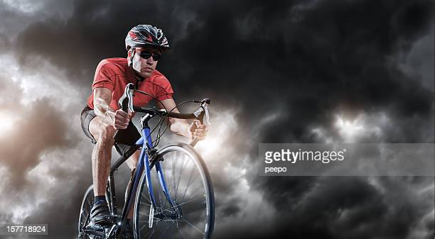 Cyclist Rides Through The Storm