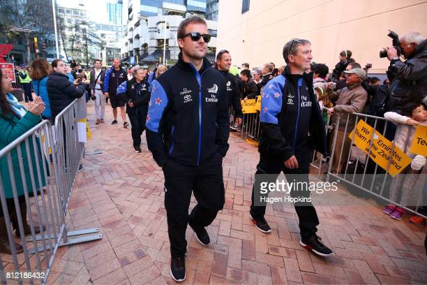 Cyclist Simon van Velthooven looks on during the Team New Zealand Americas Cup Wellington Welcome Home Parade on July 11 2017 in Wellington New...